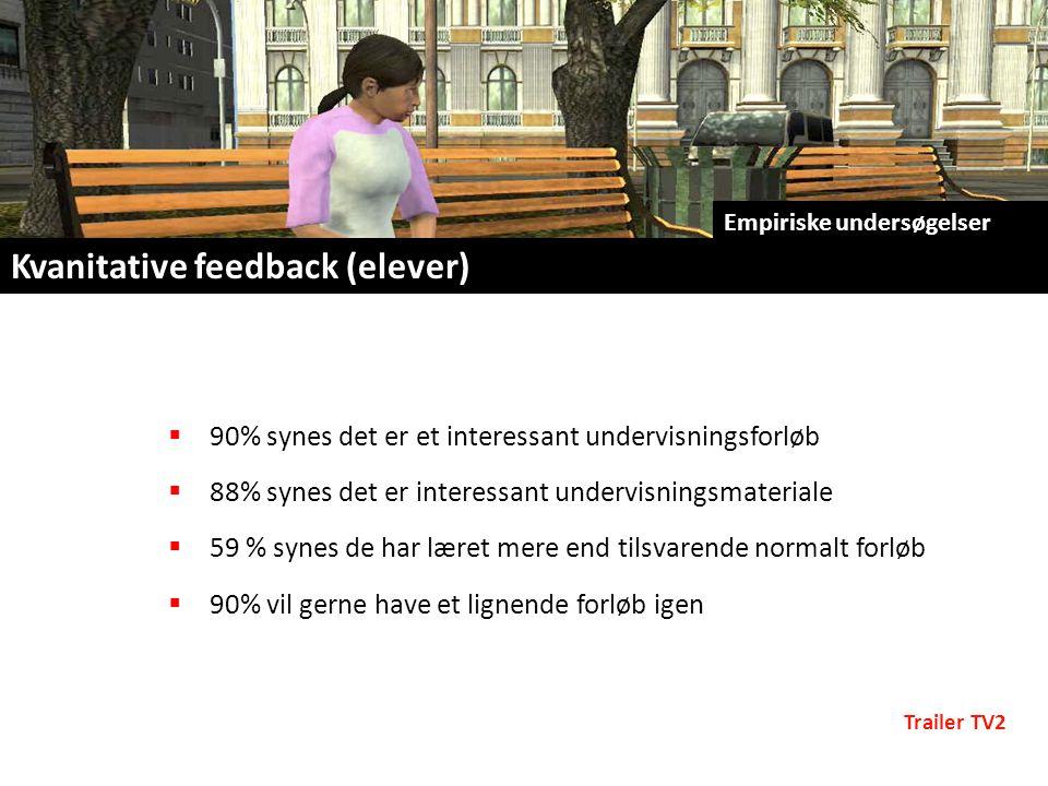  90% synes det er et interessant undervisningsforløb  88% synes det er interessant undervisningsmateriale  59 % synes de har læret mere end tilsvarende normalt forløb  90% vil gerne have et lignende forløb igen Empiriske undersøgelser Kvanitative feedback (elever) Trailer TV2