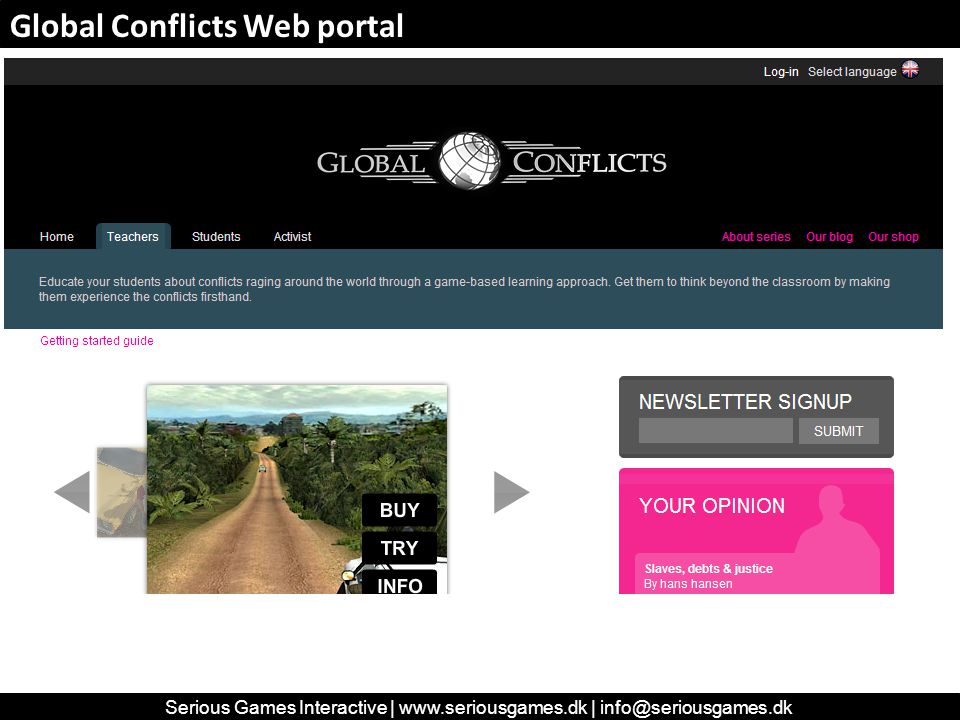 Global Conflicts Web portal Serious Games Interactive | www.seriousgames.dk | info@seriousgames.dk