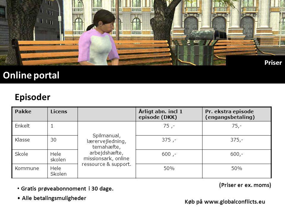 Online portal Priser Gratis prøveabonnoment i 30 dage.