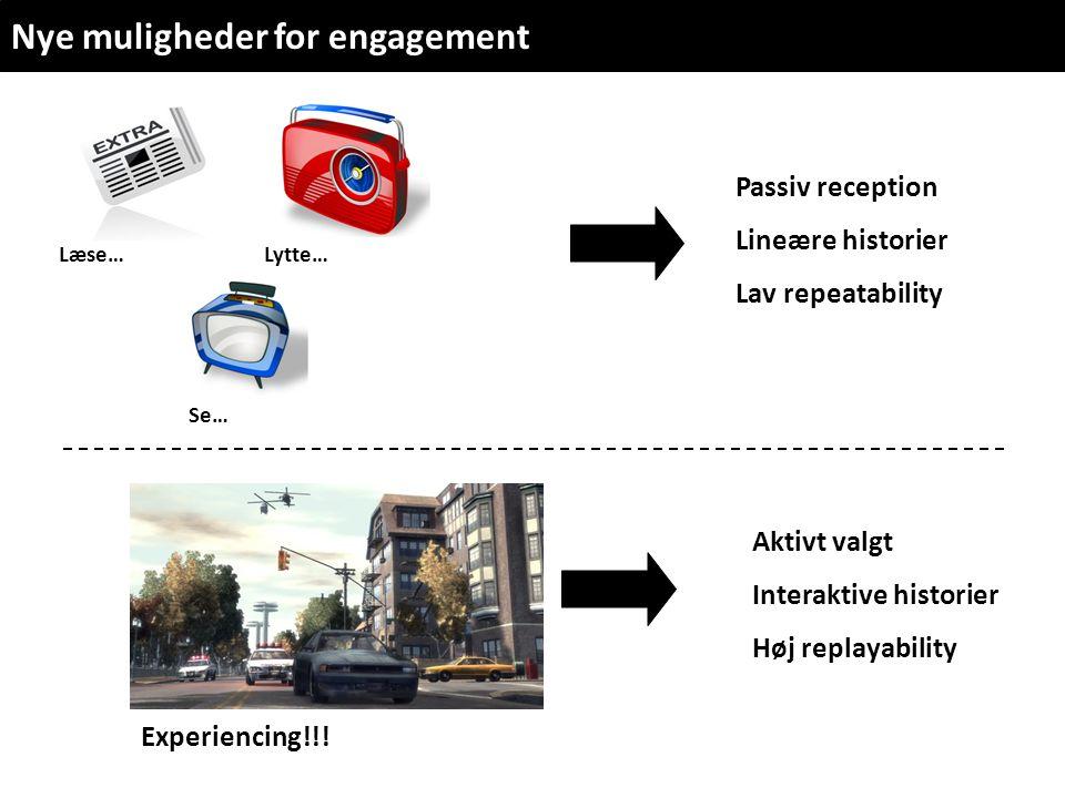 Læse… Lytte… Se… Nye muligheder for engagement Aktivt valgt Interaktive historier Høj replayability Passiv reception Lineære historier Lav repeatability Experiencing!!!
