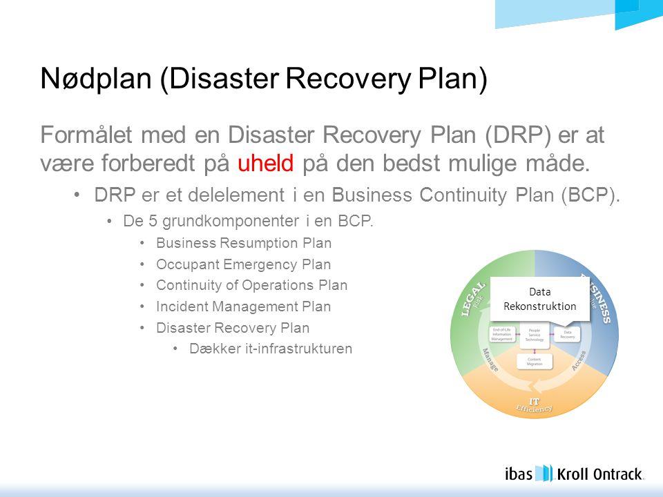 Nødplan (Disaster Recovery Plan) Formålet med en Disaster Recovery Plan (DRP) er at være forberedt på uheld på den bedst mulige måde.