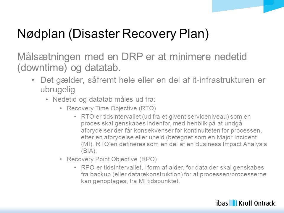 Nødplan (Disaster Recovery Plan) Målsætningen med en DRP er at minimere nedetid (downtime) og datatab.