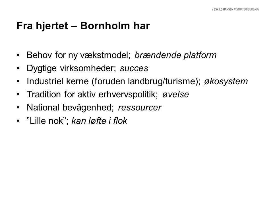 Fra hjertet – Bornholm har Behov for ny vækstmodel; brændende platform Dygtige virksomheder; succes Industriel kerne (foruden landbrug/turisme); økosystem Tradition for aktiv erhvervspolitik; øvelse National bevågenhed; ressourcer Lille nok ; kan løfte i flok