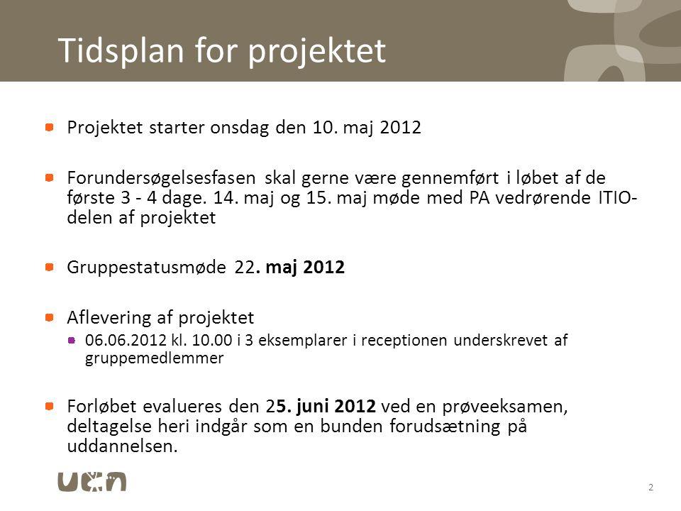 Tidsplan for projektet Projektet starter onsdag den 10.