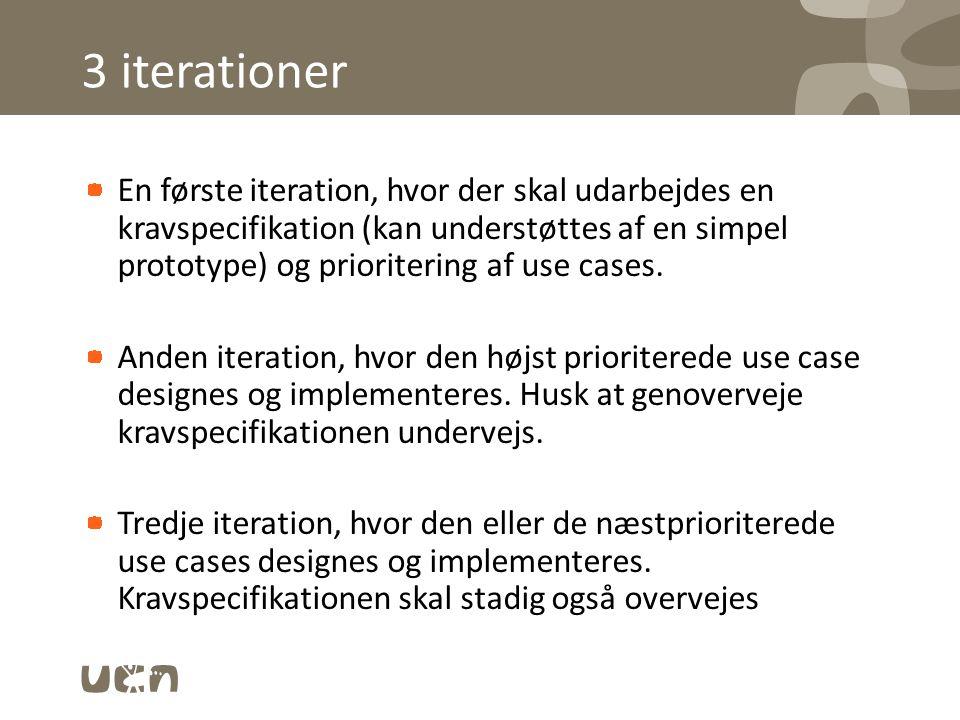 3 iterationer En første iteration, hvor der skal udarbejdes en kravspecifikation (kan understøttes af en simpel prototype) og prioritering af use cases.