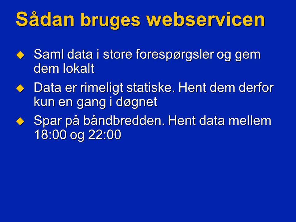 Sådan bruges webservicen  Saml data i store forespørgsler og gem dem lokalt  Data er rimeligt statiske.