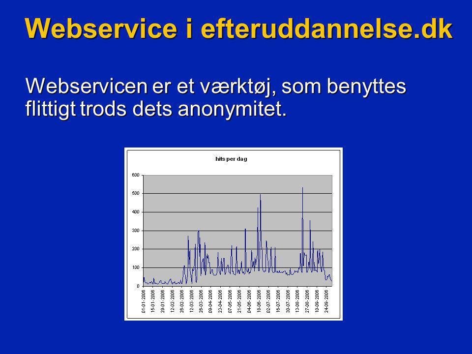 Webservice i efteruddannelse.dk Webservicen er et værktøj, som benyttes flittigt trods dets anonymitet.