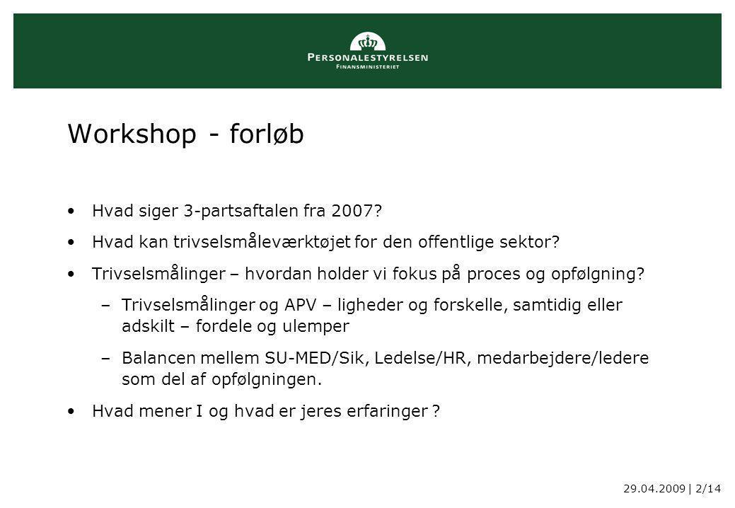 29.04.2009 | 2/14 Workshop - forløb Hvad siger 3-partsaftalen fra 2007.