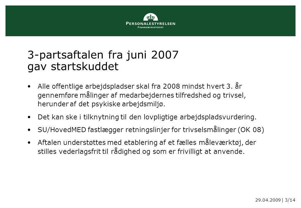 29.04.2009 | 3/14 3-partsaftalen fra juni 2007 gav startskuddet Alle offentlige arbejdspladser skal fra 2008 mindst hvert 3.