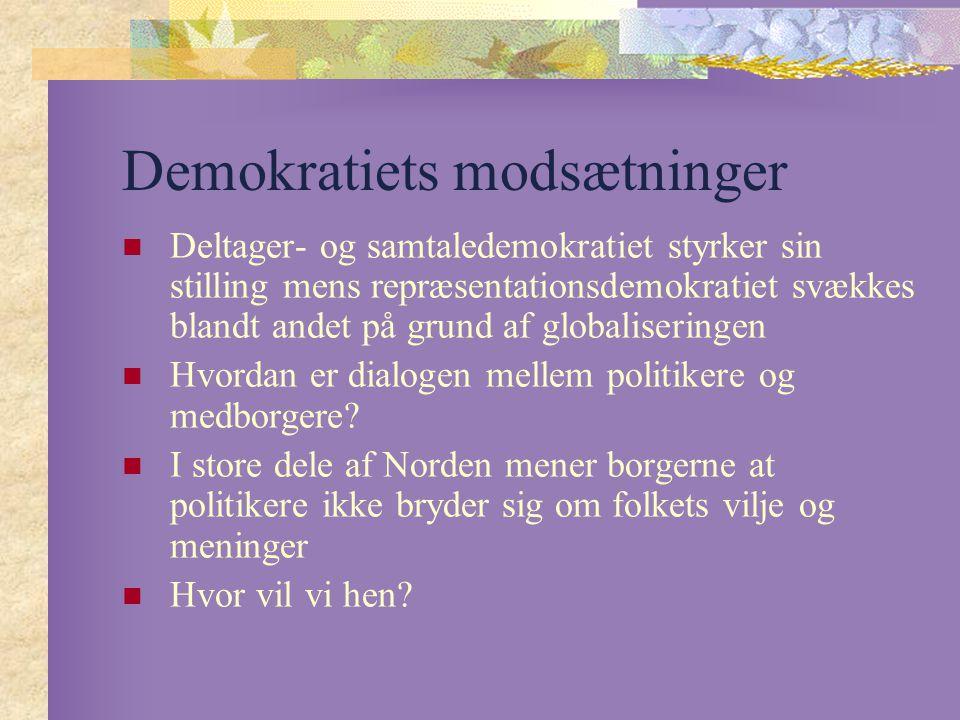 Demokratiets modsætninger Deltager- og samtaledemokratiet styrker sin stilling mens repræsentationsdemokratiet svækkes blandt andet på grund af globaliseringen Hvordan er dialogen mellem politikere og medborgere.