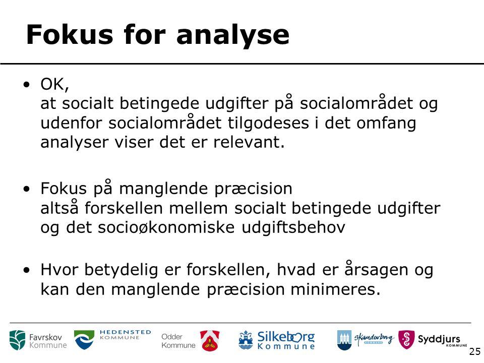25 Fokus for analyse OK, at socialt betingede udgifter på socialområdet og udenfor socialområdet tilgodeses i det omfang analyser viser det er relevant.