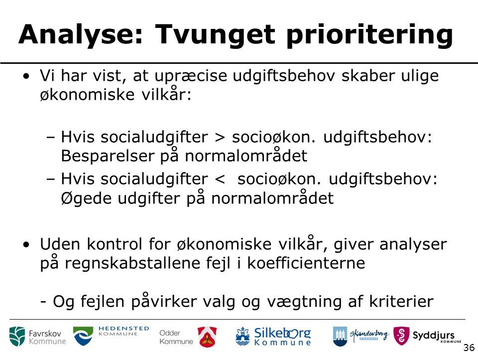 36 Analyse: Tvunget prioritering Vi har vist, at upræcise udgiftsbehov skaber ulige økonomiske vilkår: –Hvis socialudgifter > socioøkon.