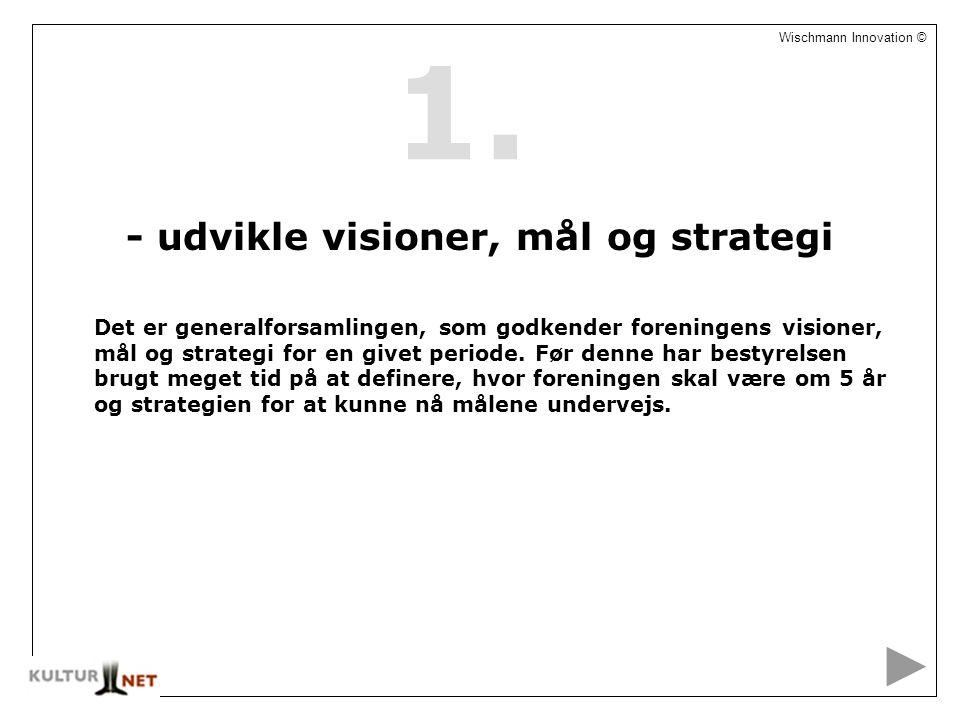 2 Wischmann Innovation © - udvikle visioner, mål og strategi Det er generalforsamlingen, som godkender foreningens visioner, mål og strategi for en givet periode.