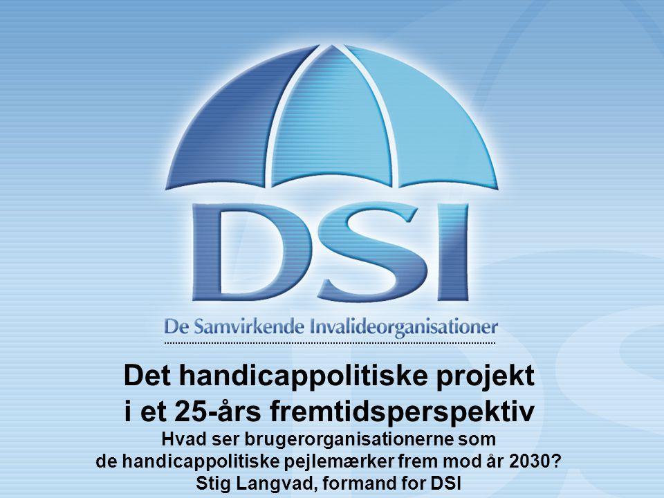 Det handicappolitiske projekt i et 25-års fremtidsperspektiv Hvad ser brugerorganisationerne som de handicappolitiske pejlemærker frem mod år 2030.