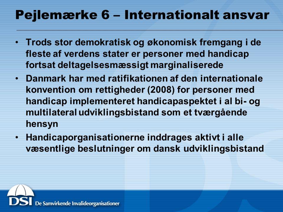 Pejlemærke 6 – Internationalt ansvar Trods stor demokratisk og økonomisk fremgang i de fleste af verdens stater er personer med handicap fortsat deltagelsesmæssigt marginaliserede Danmark har med ratifikationen af den internationale konvention om rettigheder (2008) for personer med handicap implementeret handicapaspektet i al bi- og multilateral udviklingsbistand som et tværgående hensyn Handicaporganisationerne inddrages aktivt i alle væsentlige beslutninger om dansk udviklingsbistand