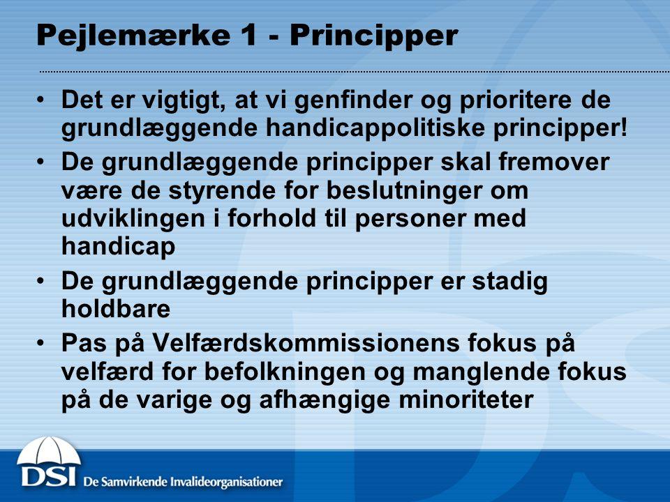 Pejlemærke 1 - Principper Det er vigtigt, at vi genfinder og prioritere de grundlæggende handicappolitiske principper.
