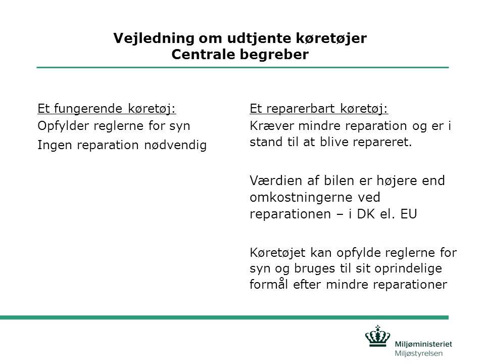 Vejledning om udtjente køretøjer Centrale begreber Et fungerende køretøj: Opfylder reglerne for syn Ingen reparation nødvendig Et reparerbart køretøj: Kræver mindre reparation og er i stand til at blive repareret.