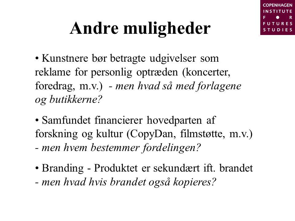 Andre muligheder Kunstnere bør betragte udgivelser som reklame for personlig optræden (koncerter, foredrag, m.v.) - men hvad så med forlagene og butikkerne.