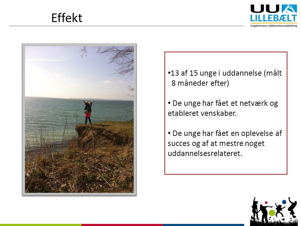 Effekt 13 af 15 unge i uddannelse (målt 8 måneder efter) De unge har fået et netværk og etableret venskaber.