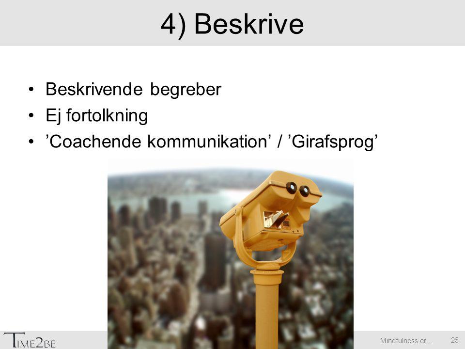 Mindfulness er… 4) Beskrive Beskrivende begreber Ej fortolkning 'Coachende kommunikation' / 'Girafsprog' 25