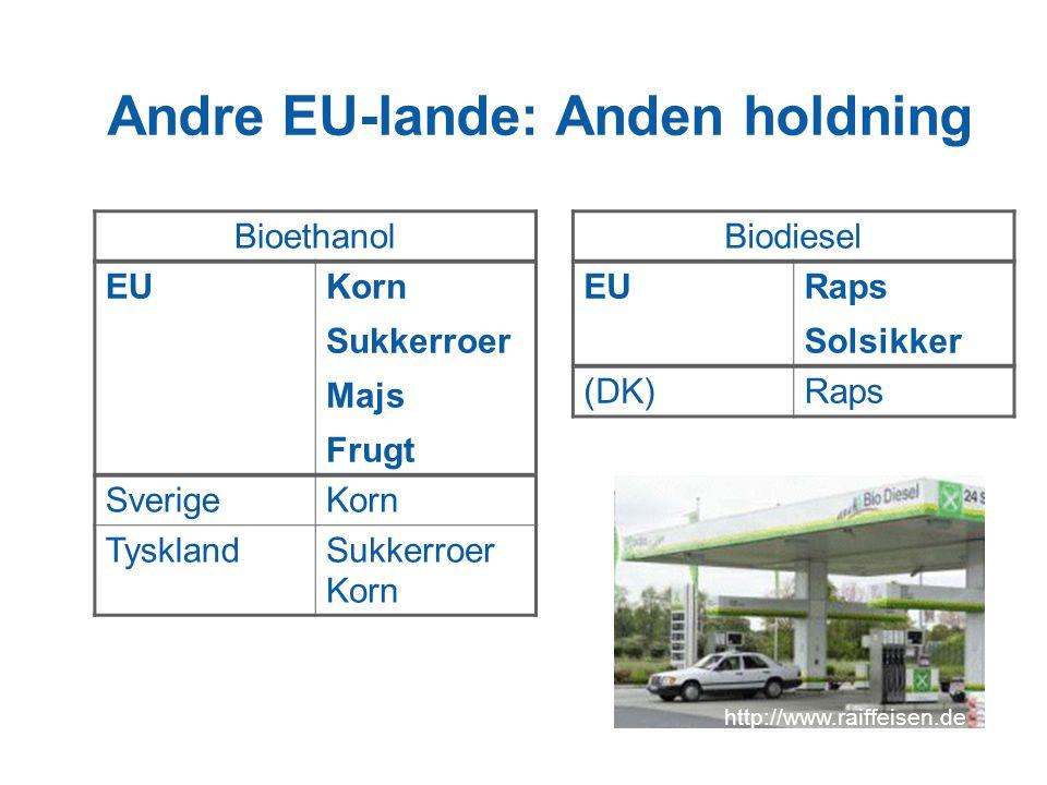 Andre EU-lande: Anden holdning Bioethanol EUKorn Sukkerroer Majs Frugt SverigeKorn TysklandSukkerroer Korn Biodiesel EURaps Solsikker (DK)Raps http://www.raiffeisen.de
