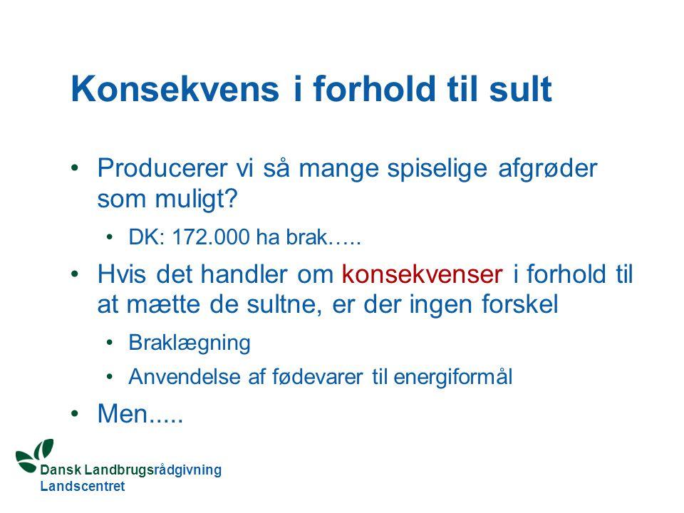 Dansk Landbrugsrådgivning Landscentret Konsekvens i forhold til sult Producerer vi så mange spiselige afgrøder som muligt.