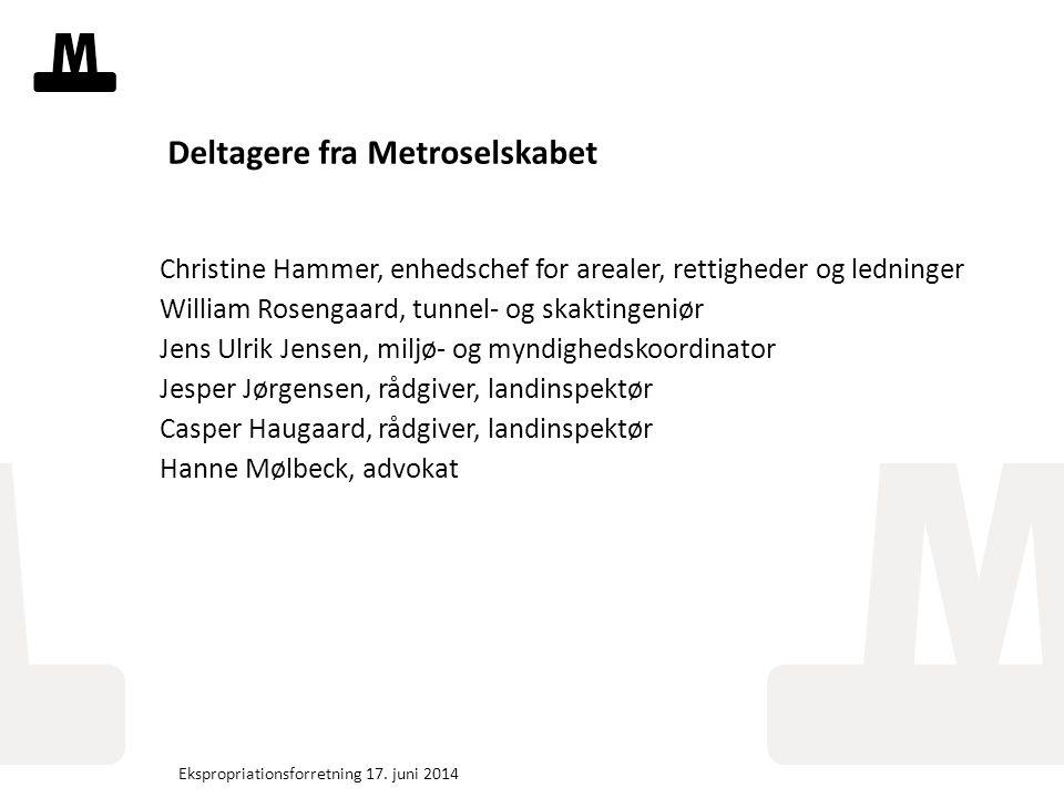 Tekstslide med bullets Brug 'Forøge / Formindske indryk' for at skifte mellem de forskellige niveauer Fjern bullets Klik på Bullet-knappen i Top-menuen Deltagere fra Metroselskabet Christine Hammer, enhedschef for arealer, rettigheder og ledninger William Rosengaard, tunnel- og skaktingeniør Jens Ulrik Jensen, miljø- og myndighedskoordinator Jesper Jørgensen, rådgiver, landinspektør Casper Haugaard, rådgiver, landinspektør Hanne Mølbeck, advokat Ekspropriationsforretning 17.