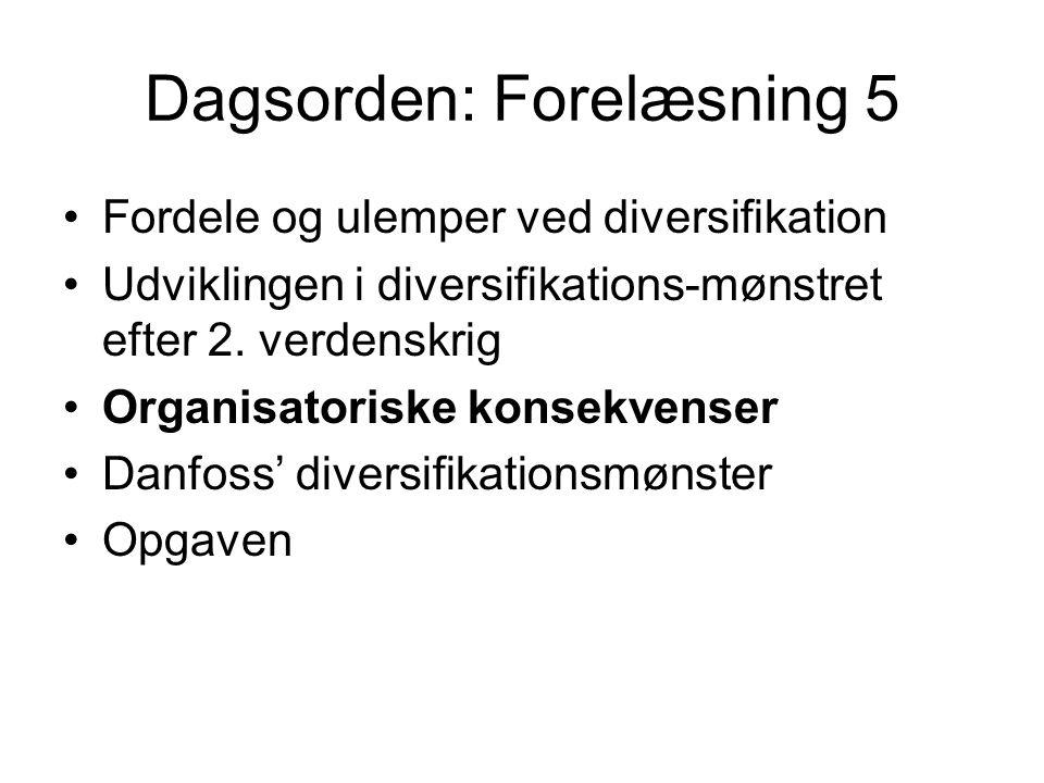 Dagsorden: Forelæsning 5 Fordele og ulemper ved diversifikation Udviklingen i diversifikations-mønstret efter 2.