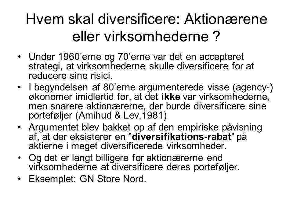 Hvem skal diversificere: Aktionærene eller virksomhederne .