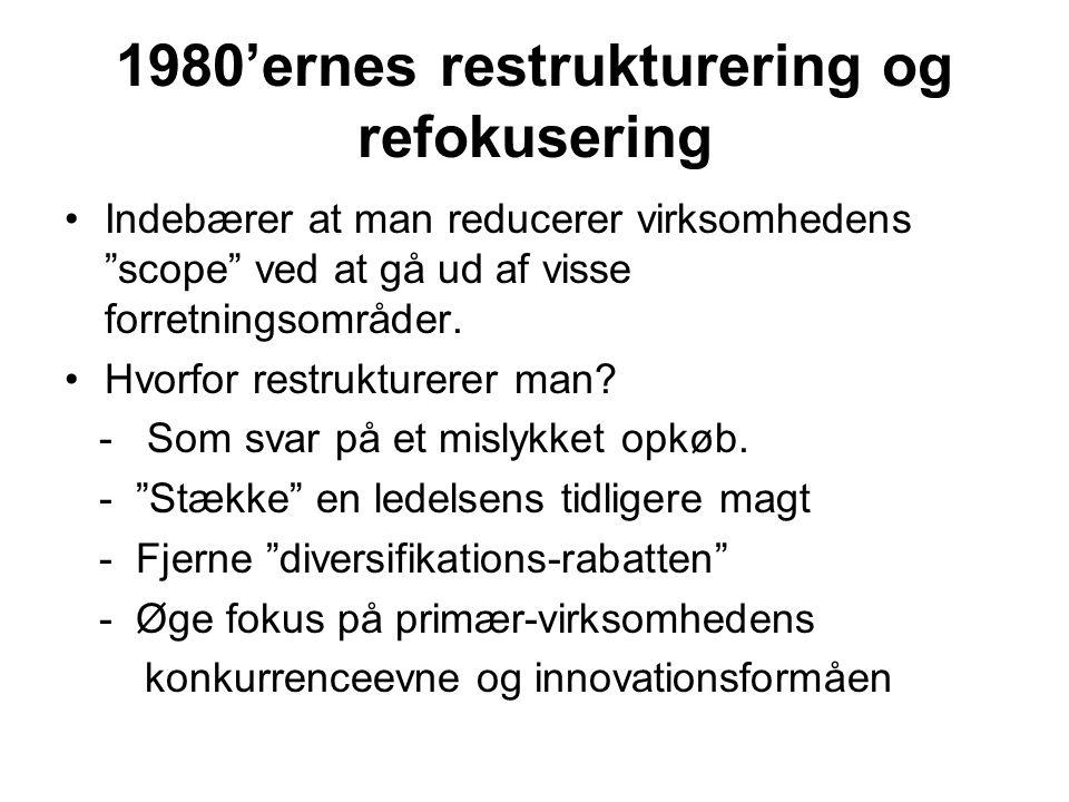 1980'ernes restrukturering og refokusering Indebærer at man reducerer virksomhedens scope ved at gå ud af visse forretningsområder.
