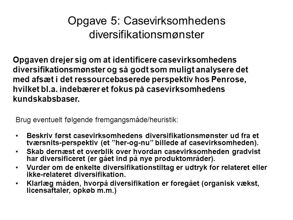 Opgave 5: Casevirksomhedens diversifikationsmønster Brug eventuelt følgende fremgangsmåde/heuristik: Beskriv først casevirksomhedens diversifikationsmønster ud fra et tværsnits-perspektiv (et her-og-nu billede af casevirksomheden).