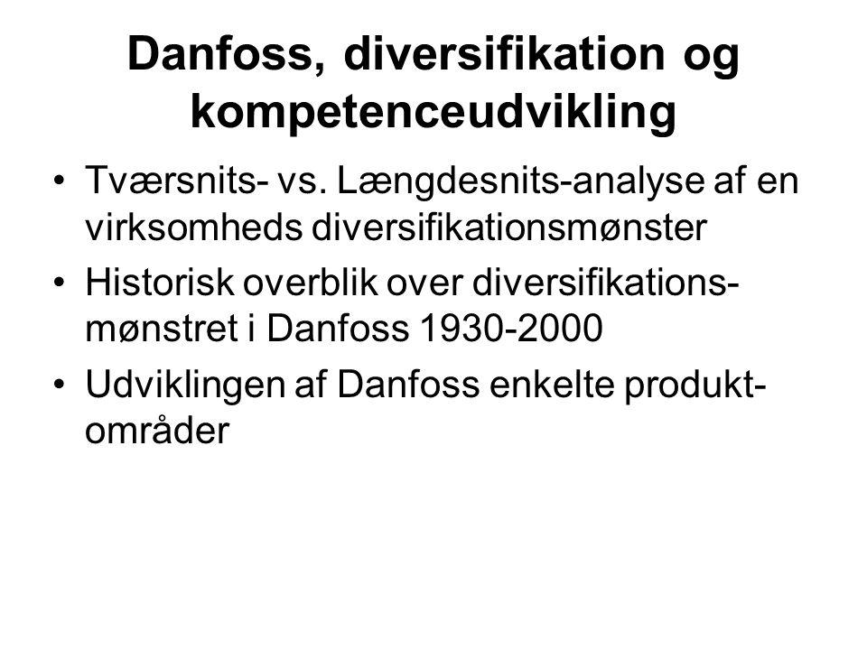 Danfoss, diversifikation og kompetenceudvikling Tværsnits- vs.