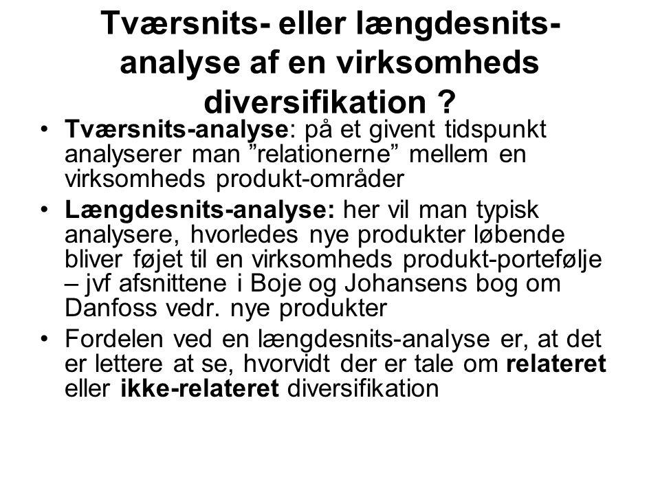 Tværsnits- eller længdesnits- analyse af en virksomheds diversifikation .