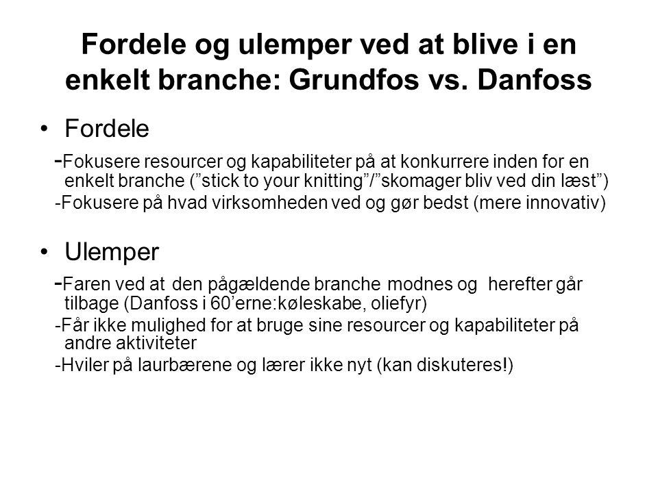 Fordele og ulemper ved at blive i en enkelt branche: Grundfos vs.