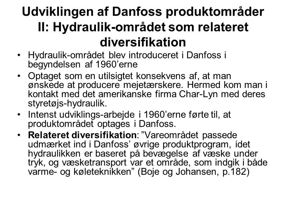 Udviklingen af Danfoss produktområder II: Hydraulik-området som relateret diversifikation Hydraulik-området blev introduceret i Danfoss i begyndelsen af 1960'erne Optaget som en utilsigtet konsekvens af, at man ønskede at producere mejetærskere.