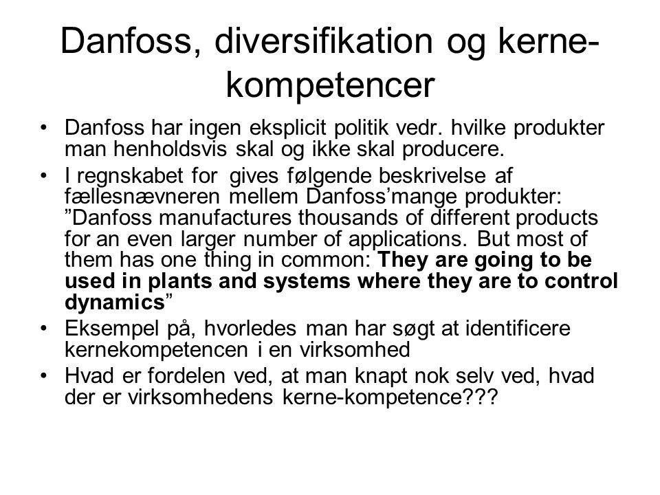 Danfoss, diversifikation og kerne- kompetencer Danfoss har ingen eksplicit politik vedr.