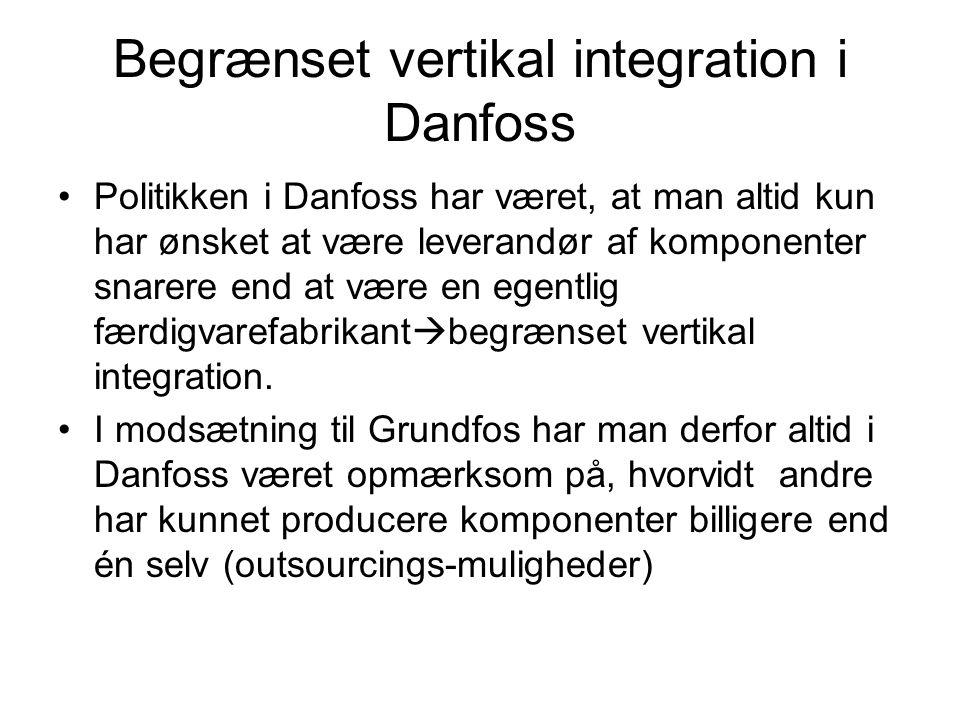 Begrænset vertikal integration i Danfoss Politikken i Danfoss har været, at man altid kun har ønsket at være leverandør af komponenter snarere end at være en egentlig færdigvarefabrikant  begrænset vertikal integration.