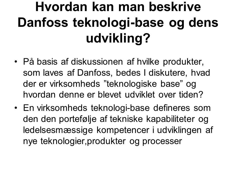 Hvordan kan man beskrive Danfoss teknologi-base og dens udvikling.