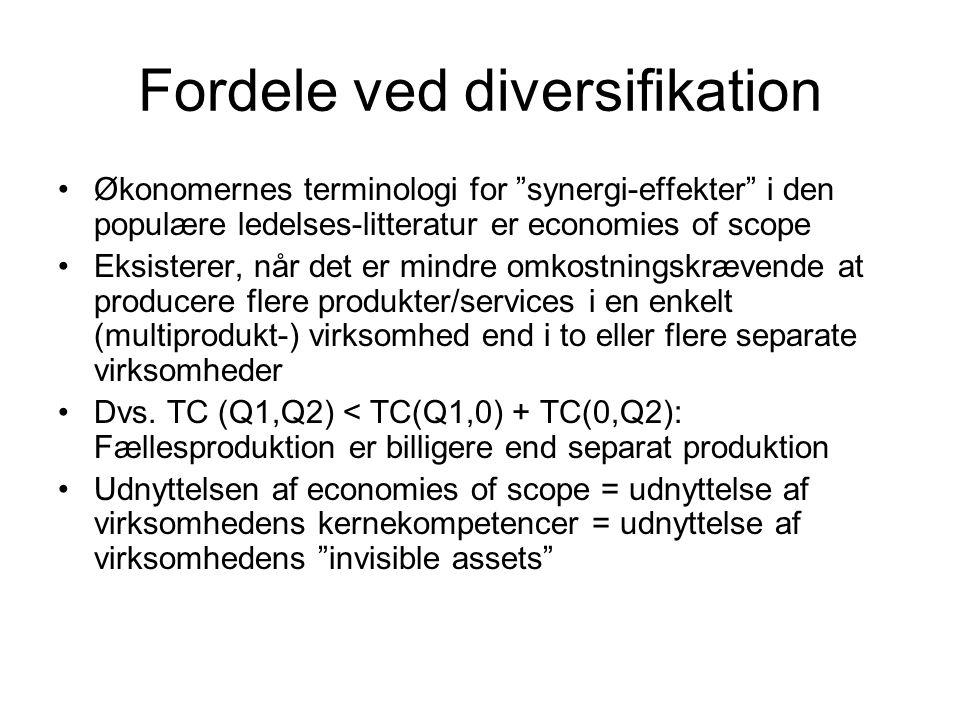 Fordele ved diversifikation Økonomernes terminologi for synergi-effekter i den populære ledelses-litteratur er economies of scope Eksisterer, når det er mindre omkostningskrævende at producere flere produkter/services i en enkelt (multiprodukt-) virksomhed end i to eller flere separate virksomheder Dvs.