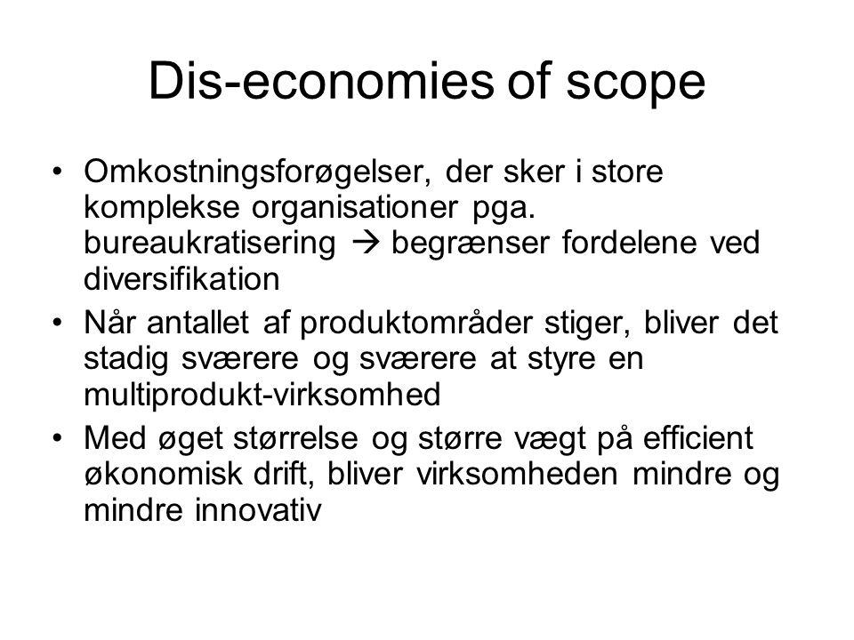 Dis-economies of scope Omkostningsforøgelser, der sker i store komplekse organisationer pga.