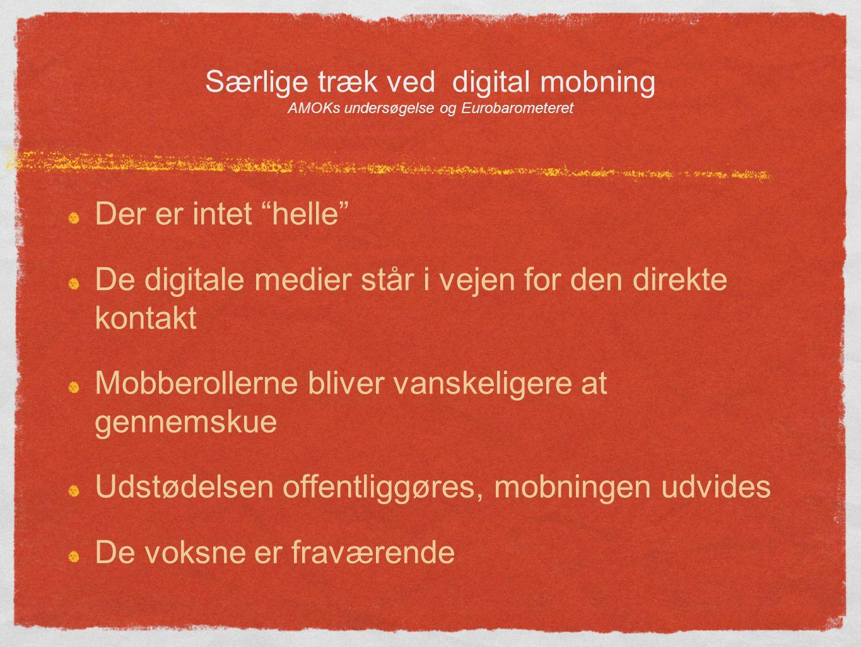 Særlige træk ved digital mobning AMOKs undersøgelse og Eurobarometeret Der er intet helle De digitale medier står i vejen for den direkte kontakt Mobberollerne bliver vanskeligere at gennemskue Udstødelsen offentliggøres, mobningen udvides De voksne er fraværende