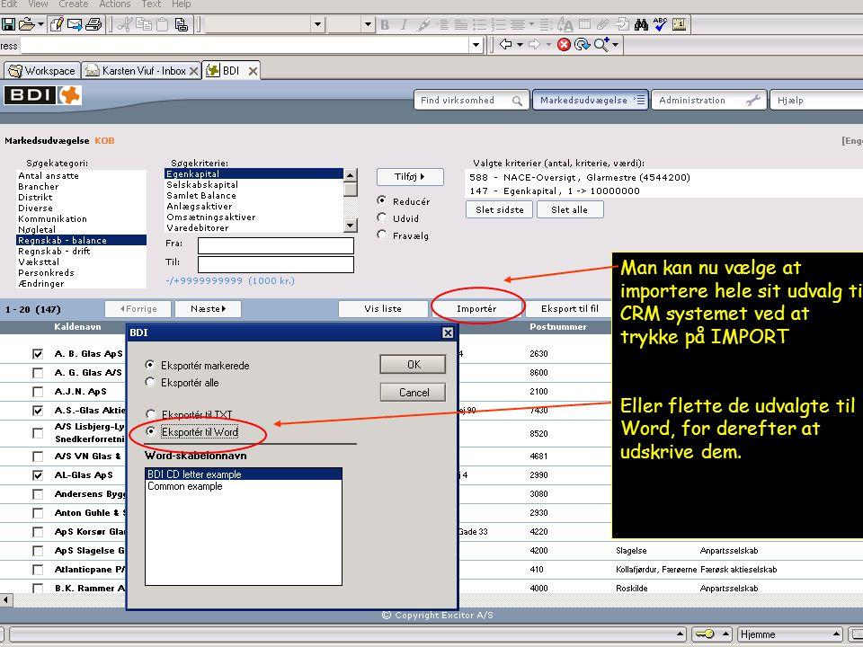 Man kan nu vælge at importere hele sit udvalg til CRM systemet ved at trykke på IMPORT Eller flette de udvalgte til Word, for derefter at udskrive dem.