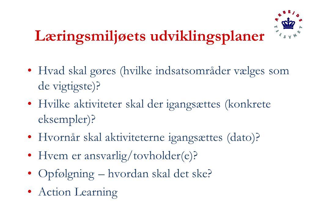 Læringsmiljøets udviklingsplaner Hvad skal gøres (hvilke indsatsområder vælges som de vigtigste).