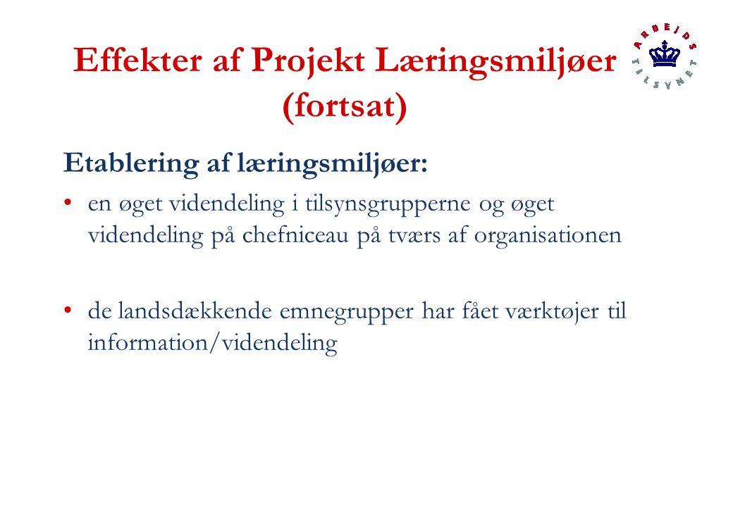Effekter af Projekt Læringsmiljøer (fortsat) Etablering af læringsmiljøer: en øget videndeling i tilsynsgrupperne og øget videndeling på chefniceau på tværs af organisationen de landsdækkende emnegrupper har fået værktøjer til information/videndeling