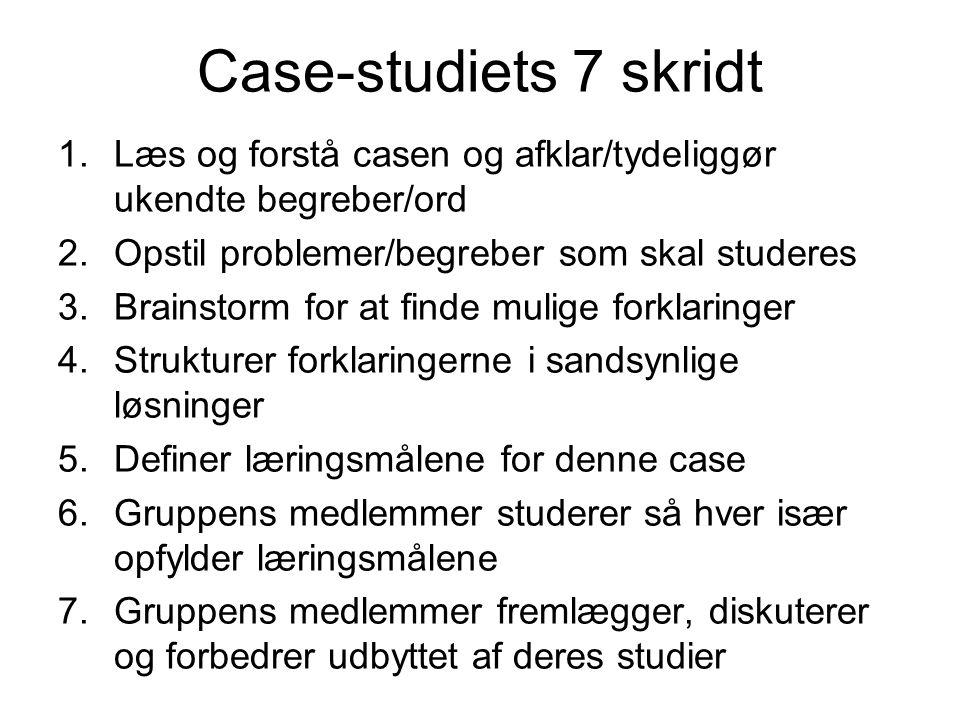 Case-studiets 7 skridt 1.Læs og forstå casen og afklar/tydeliggør ukendte begreber/ord 2.Opstil problemer/begreber som skal studeres 3.Brainstorm for at finde mulige forklaringer 4.Strukturer forklaringerne i sandsynlige løsninger 5.Definer læringsmålene for denne case 6.Gruppens medlemmer studerer så hver især opfylder læringsmålene 7.Gruppens medlemmer fremlægger, diskuterer og forbedrer udbyttet af deres studier