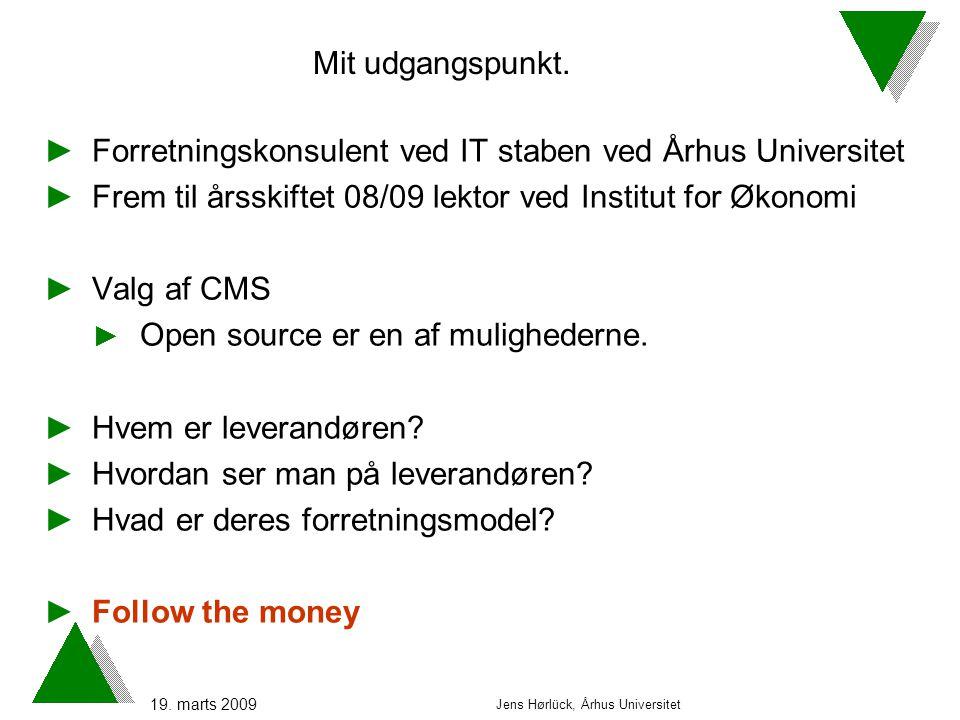 19. marts 2009 Jens Hørlück, Århus Universitet Mit udgangspunkt.