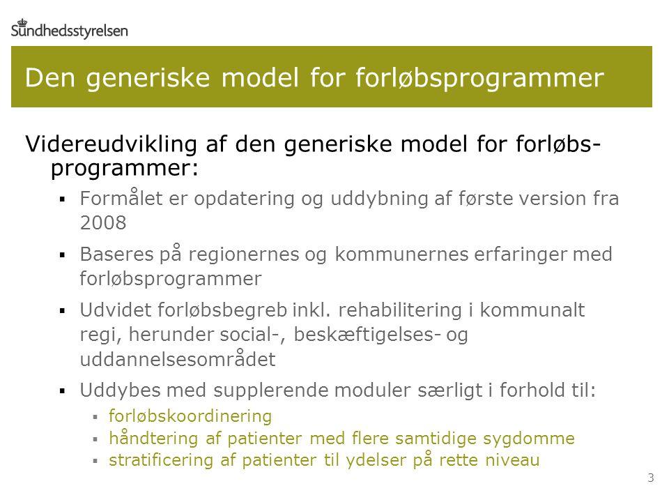3 Den generiske model for forløbsprogrammer Videreudvikling af den generiske model for forløbs- programmer:  Formålet er opdatering og uddybning af første version fra 2008  Baseres på regionernes og kommunernes erfaringer med forløbsprogrammer  Udvidet forløbsbegreb inkl.