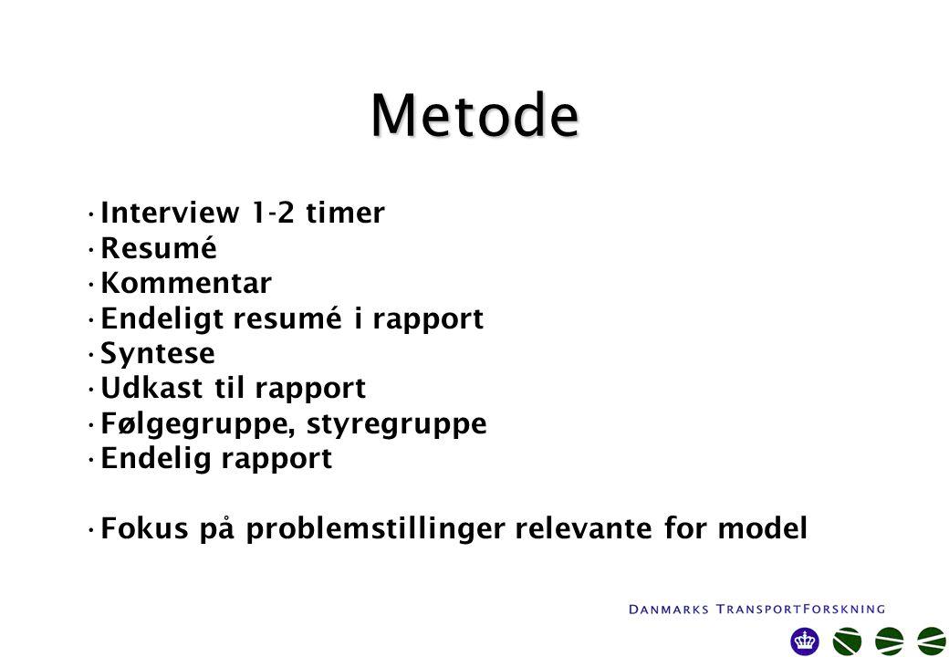 Metode Interview 1-2 timer Resumé Kommentar Endeligt resumé i rapport Syntese Udkast til rapport Følgegruppe, styregruppe Endelig rapport Fokus på problemstillinger relevante for model