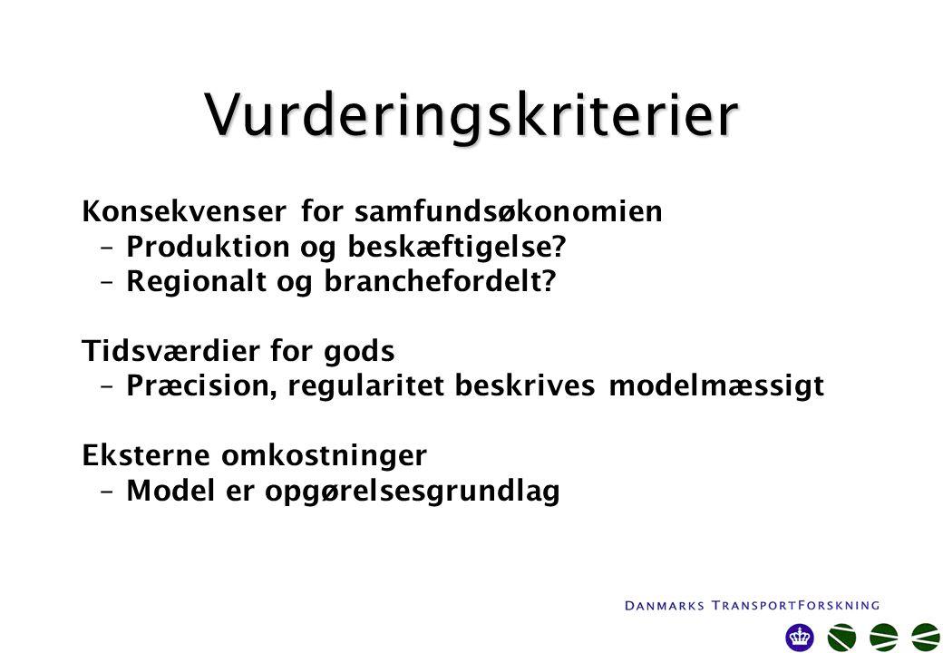 Vurderingskriterier Konsekvenser for samfundsøkonomien –Produktion og beskæftigelse.
