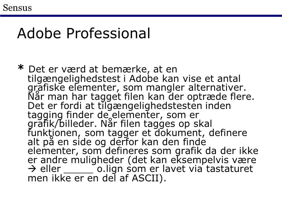 Sensus Adobe Professional * Det er værd at bemærke, at en tilgængelighedstest i Adobe kan vise et antal grafiske elementer, som mangler alternativer.